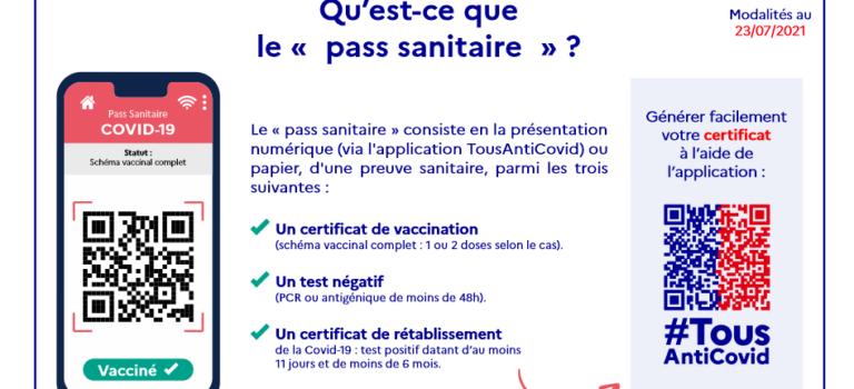 Pass sanitaire obligatoire lors de la réunion publique du 9/09